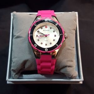 Michele Hot Pink Jelly Bean Tahitian Ladies Watch